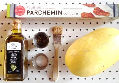 Everything you will need for fabulous oven cooked spaghetti squash.